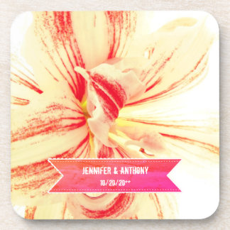 Striped Amaryllis Flower Custom Wedding Coaster