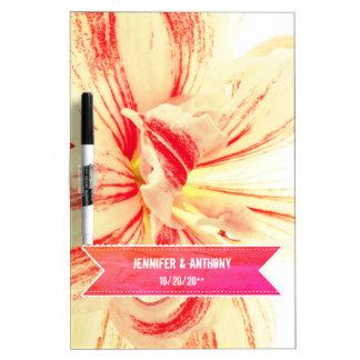 Striped Amaryllis Flower Custom Wedding Dry Erase Board