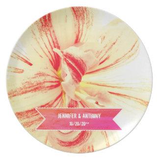 Striped Amaryllis Flower Custom Wedding Plate