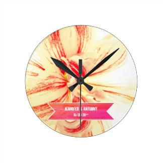 Striped Amaryllis Flower Custom Wedding Round Clock