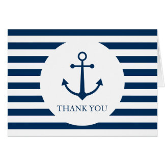 Striped anchor thank you card