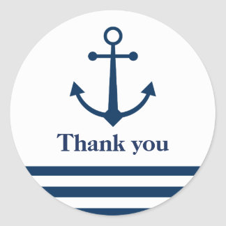 Striped anchor thank you stickers