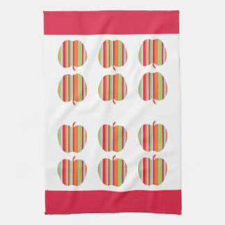 Striped Apple Pattern and Red Border Kitchen Towel