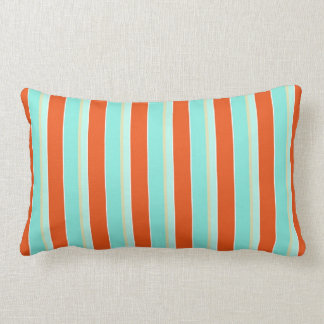 Striped Aqua Blue and Tangerine Orange Lumbar Cushion