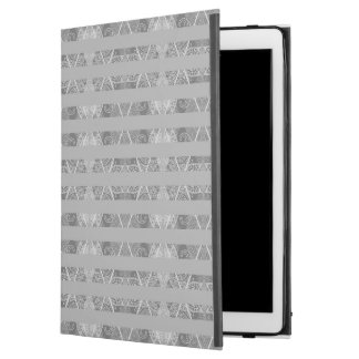 "Striped Argyle Embellished Grey iPad Pro 12.9"" Case"