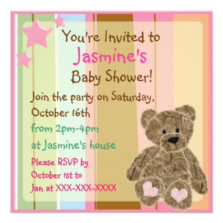 Striped baby girl teddy bear shower invitations