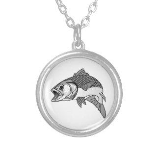 Striped Bass Round Pendant Necklace