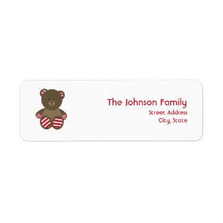 Striped Bear Christmas Address Label