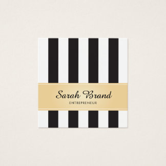 Striped Black and White with Faux Gold Square Business Card