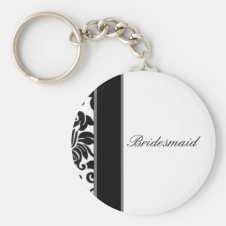 Striped black white and grey damask Wedding set Basic Round Button Key Ring