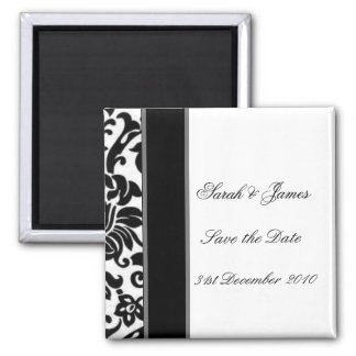 Striped black white and grey damask Wedding set Square Magnet
