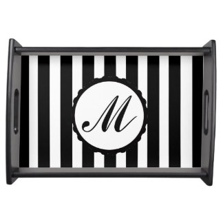 Striped Black White Custom Monogram Serving Tray