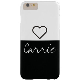Striped Black & White | Customisable Text & Font Barely There iPhone 6 Plus Case