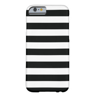 Striped (Black & White | Horizontal) Customisable Barely There iPhone 6 Case