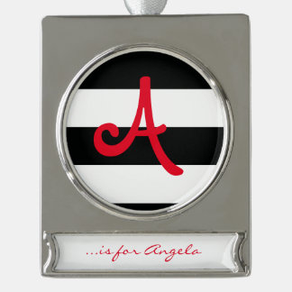 Striped (Black & White | Horizontal) Customizable Silver Plated Banner Ornament