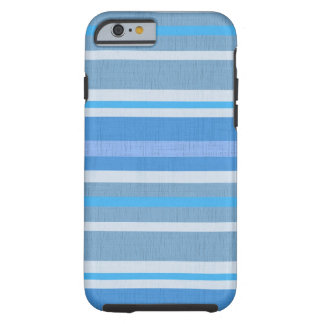 Striped Blue cotton Fabric Pattern Tough iPhone 6 Case