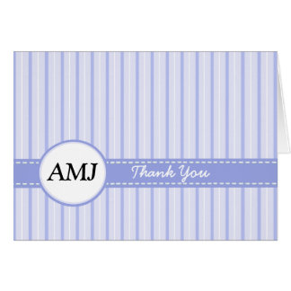Striped Blue Folded Photo Thank You Card