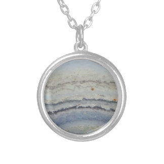 Striped Blue Lace Agate cool unique nature stone Silver Plated Necklace