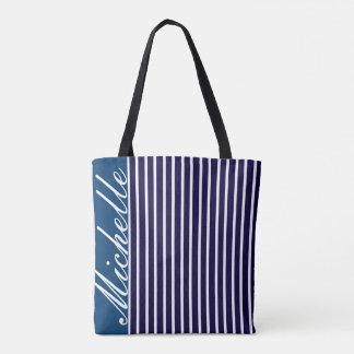 Striped Blue Monogram Tote Bag