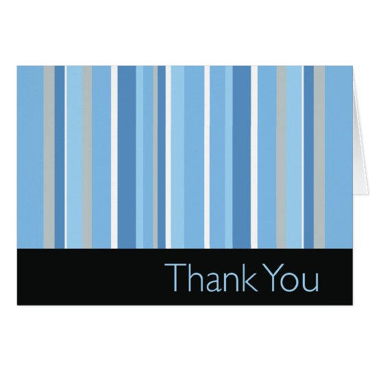 Striped Blue Thank You Card
