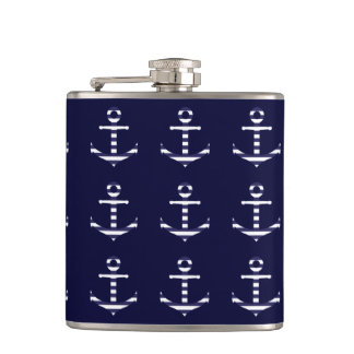 Striped blue white anchor hip flask