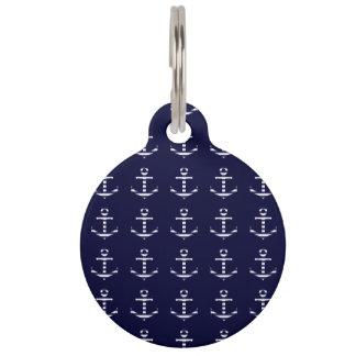Striped blue white anchor pet ID tag