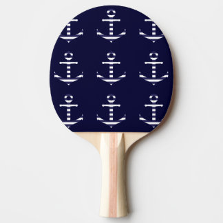 Striped blue white anchor ping pong paddle
