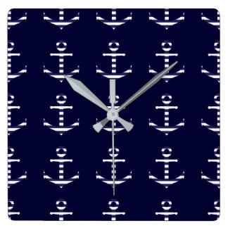 Striped blue white anchor square wall clock