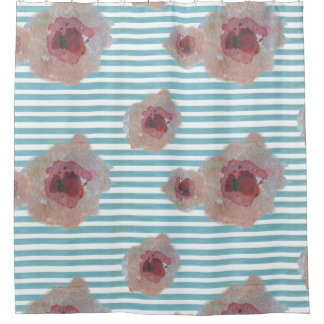 Striped Boho Chic Floral Pattern | Shower Curtain