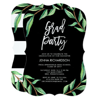 Striped Botanical | Graduation Party Invitation