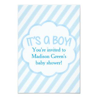 Striped Boy Baby Shower Invitation Card