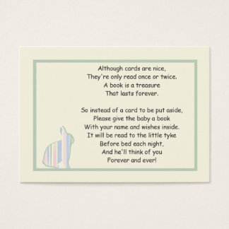 Striped Bunny Baby Shower Book Poem - Insert Card