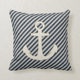 Striped Burlap Look Nautical Ship's Anchor Pillow