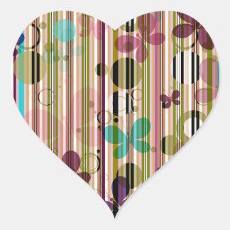 Striped Butterfly Wallpaper Heart Sticker