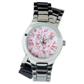 Striped candy cane camellia wristwatches