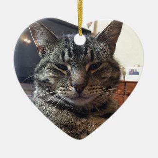 Striped cat ceramic heart decoration