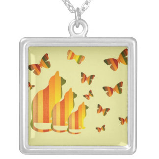 Striped cats and butterflies necklace
