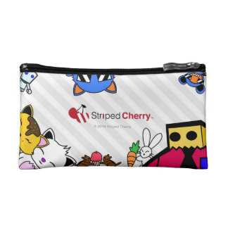 Striped Cherry Make Up Purse Cosmetics Bags