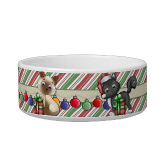 Striped Christmas Holiday Cat Dish - Customize Pet Food Bowl