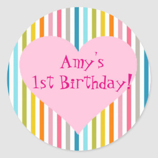 Striped colorful birthday party stickers