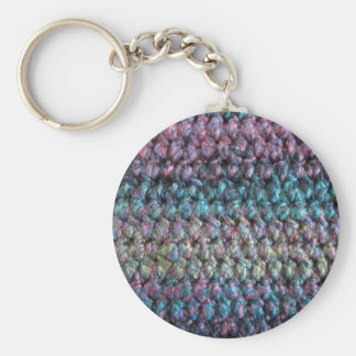 Striped crocheted knitted wool basic round button key ring