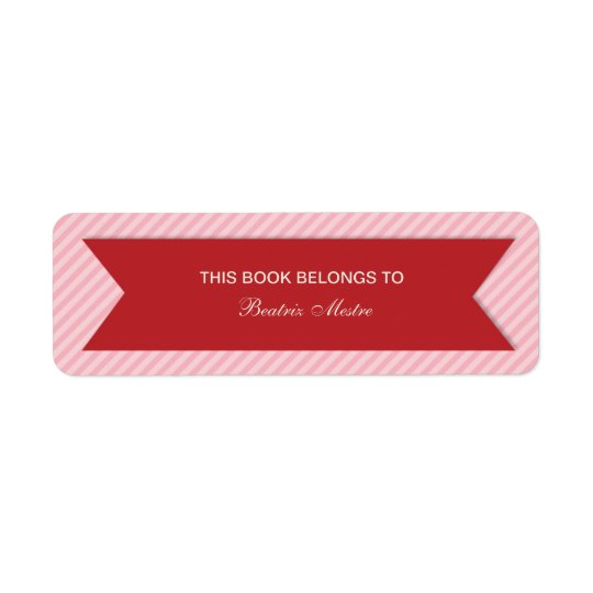 Striped Customisable Bookplates Labels