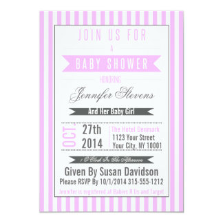 Striped Elegant Minimalist Baby Shower Invitation
