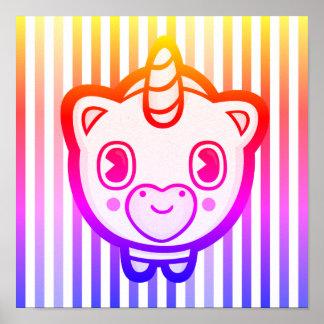 Striped Emoji Unicorn Poster