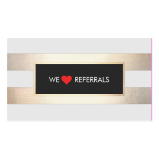 Striped FAUX Gold and Black Red Heart Referral Pack Of Standard Business Cards