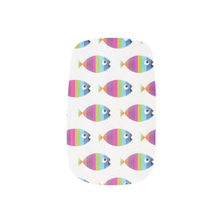 Striped Fish Colorful Bold Blue Pink Green Purple Minx Nail Art