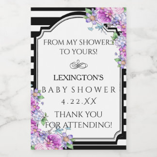 Striped Floral Baby Shower Guest Favor Product or Food Label