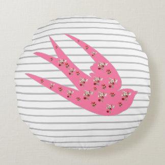Striped Floral Bird Round Pillow