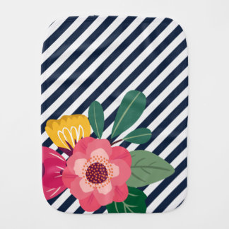 Striped Floral Burp Cloth