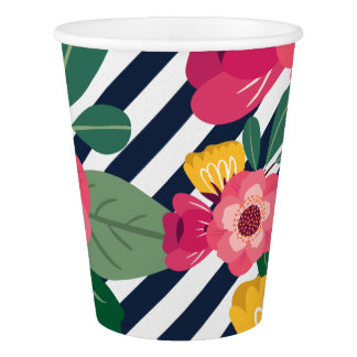 Striped Floral Paper Cup